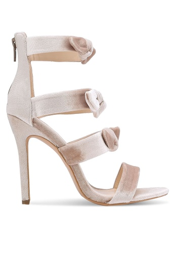 Velvet beige Satin Strappy Heels 37E84ZZ1CEDF57GS_1