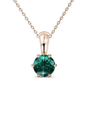 Her Jewellery green and gold Birth Stone Pendant (May, Rose Gold) - Made with premium grade crystals from Austria E9610ACE9A58B9GS_1