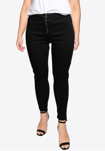 MISSGUIDED black Plus Size Ring Zip Outlaw Jeggings 7666DAA6E47A82GS_1