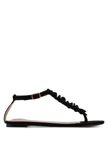 Velvet black Ruffled Sandals 24974SHD70C1CEGS_1