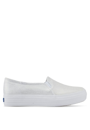 Triple Decker Metallic Linen Slip On Sneakers THvbUox