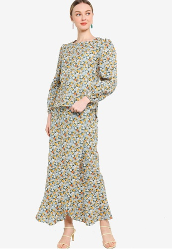 Lubna yellow and blue Bishop Sleeve With Wrap Skirt Set 0758FAAEB30D97GS_1