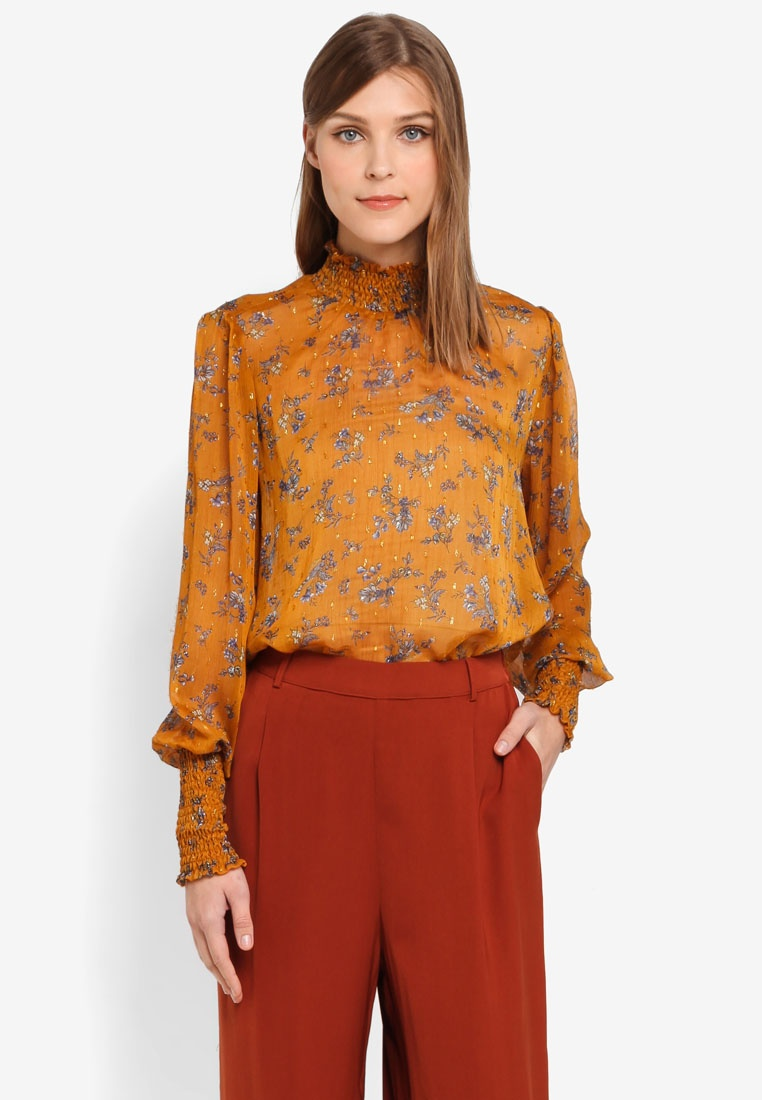 Gold Y Flower Long A Top Aop S Harvest Sleeve Tape rO0Pqx0w8R