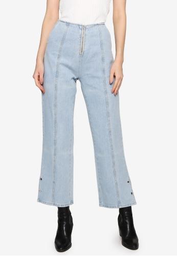 Hopeshow blue Front Stitch Denim Pants E5129AA7E6CB6BGS_1