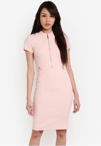 Dorothy Perkins pink Petite Blush Zip Pencil Dress DO816AA23UVOMY_1