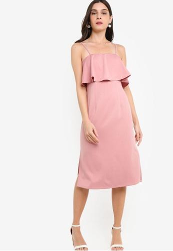 ZALORA pink Tiered Strappy Midi Sheath Dress 00BFDAA860CAEBGS_1