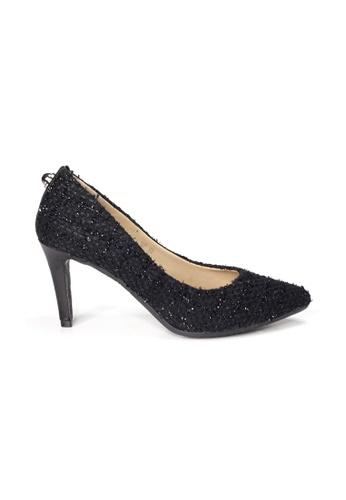 Shu Talk black LeccaLecca Black Tweed Fabric Pointed Toe Leather Heels 51BB9SHF51C9A6GS_1
