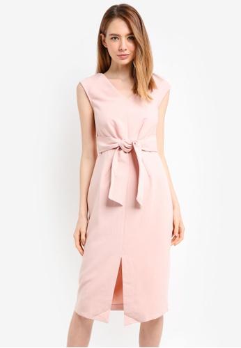 CLOSET pink Tie Front Dress A31F3AA79BD327GS_1