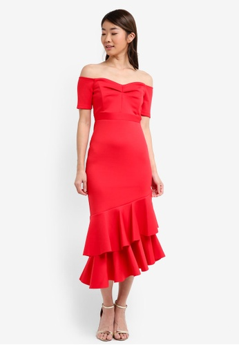 Miss Selfridge red Scuba Bardot Dress 9D451AAF4D48CBGS_1