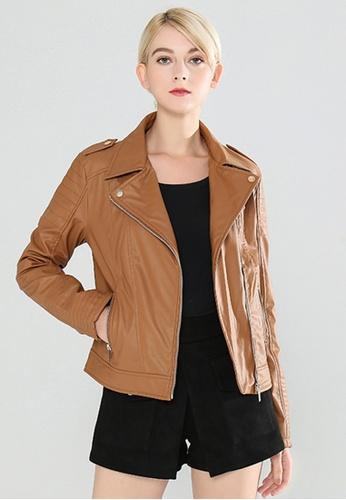 London Rag brown Zipper Faux Leather Biker Jacket E66B5AAFA97F9EGS_1