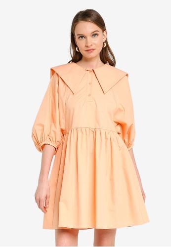 URBAN REVIVO orange Sailor Smock Dress 22F3AAA9ACED0DGS_1