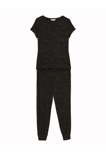 MARKS & SPENCER black M&S Foil Print Pyjama Set 9F576AA3A2E60AGS_1