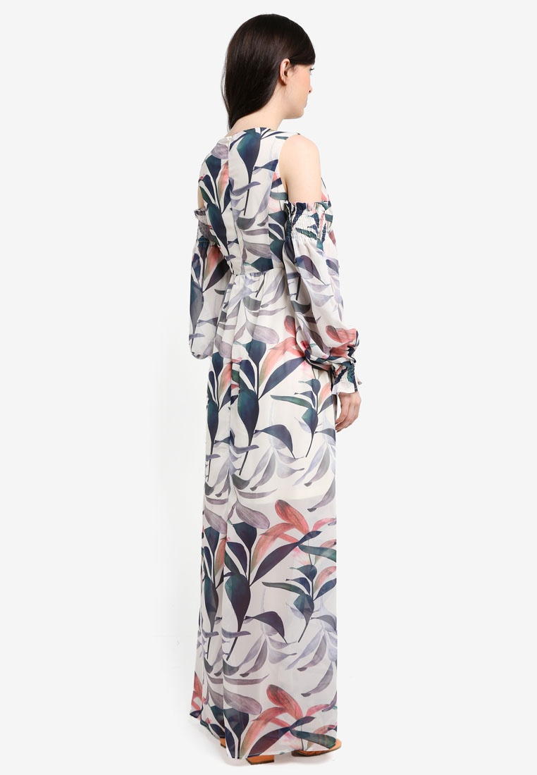 Floral Blue Dress Maxi INK LOST Multi Print Print rqArf