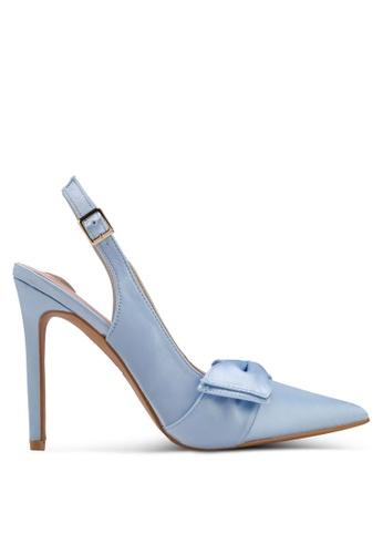 Velvet blue Satin Bow High Heels 8D394SH6AF680FGS_1