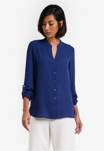 Dorothy Perkins navy Navy Non-Collar Roll Sleeve Blouse DO816AA0RY09MY_1