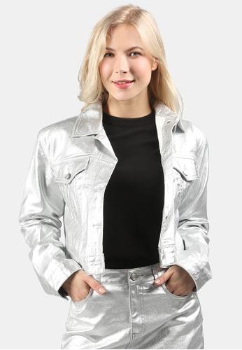 London Rag silver Shiny Metallic Denim Jacket EAD17AA5442F1DGS_1