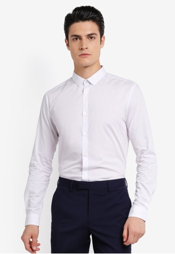 River Island white White Slim Fit Long Sleeve Shirt RI009AA0SRKTMY_1