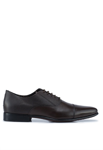 Burton Menswear London 褐色 皮革牛津鞋 40639SHB4E7088GS_1