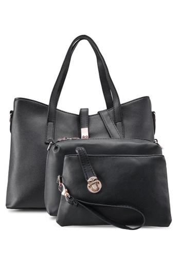 Bagstationz black Bagstationz Faux Leather Tote Bag Set of 3 BA607AC99KIQMY_1