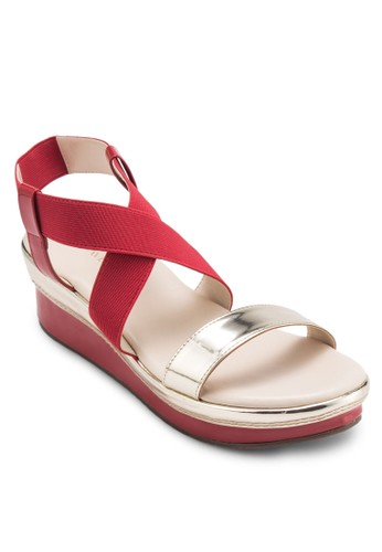 ZELDA 撞色繞踝esprit hk store厚底涼鞋, 女鞋, 楔形涼鞋