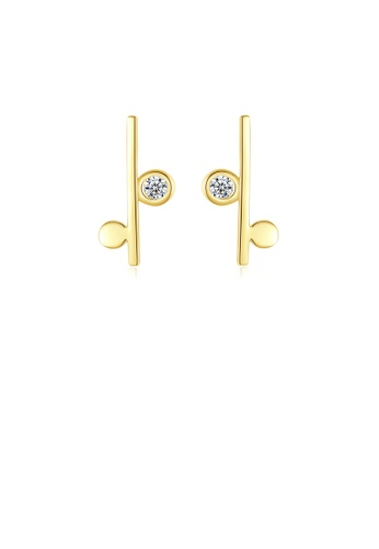 Glamorousky white 925 Sterling Silver Plated Gold Simple Fashion Geometric Stud Earrings with Cubic Zirconia D7A2EAC9D214D0GS_1