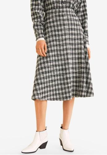 Mango black and white Gingham Print Skirt 0D30FAAAE40C2CGS_1