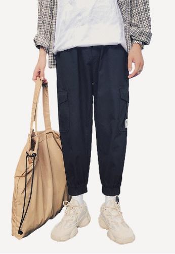 hk-ehunter black Men's Narrow-Leg Casual Pants E6F3CAA6A2FB0AGS_1