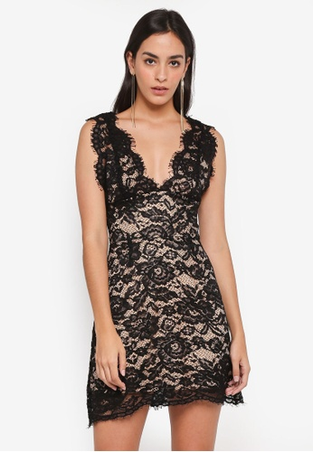 MISSGUIDED black Lace Plunge Skater Dress 8EDE2AA3142EDAGS_1