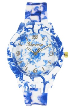 Geneva Blue Floral Rubberized Coated Ladies