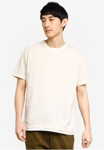 GLOBAL WORK white Layered Knit T-Shirt 728C7AA1AF2CB3GS_1
