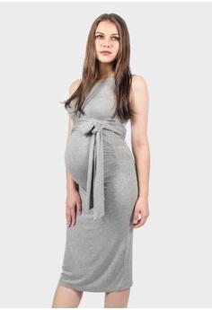 fb25a6af1b3 9months Maternity grey Grey Nursing Self Tie Midi Dress 92D9DAAD4E0A6FGS 1