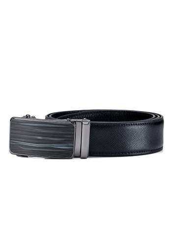ENZODESIGN 黑色 ENZODESIGN Saffiano牛皮自動扣皮帶(BT-2006-SSJ-A) F287FAC05A06D0GS_1