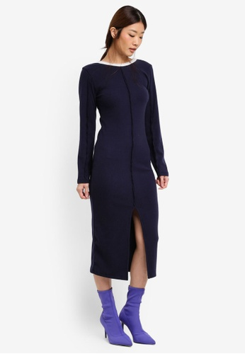 Stylenanda navy Seam Accent Knitted Dress ST343AA0SXJLMY_1