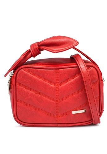 Verchini red Mini Sling Bag with Bow A9E3DACE564F0CGS_1