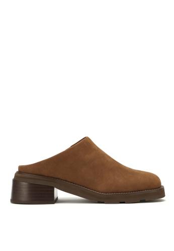 RABEANCO 褐色 RABEANCO BERMUDA 中跟拖鞋靴 - 絨面啡色 2448DSHC047D9DGS_1