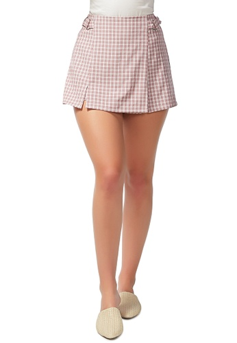 London Rag pink Chequered Skort in Pink E5E39AA6066ADAGS_1