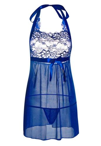 SMROCCO blue Sapphire Plus Size Nightie Sleepwear PL8019 ED614AA8D55A4EGS_1