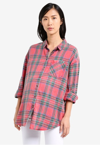 TOPSHOP red Maternity Tartan Checked Shirt TO412AA0SRS8MY_1