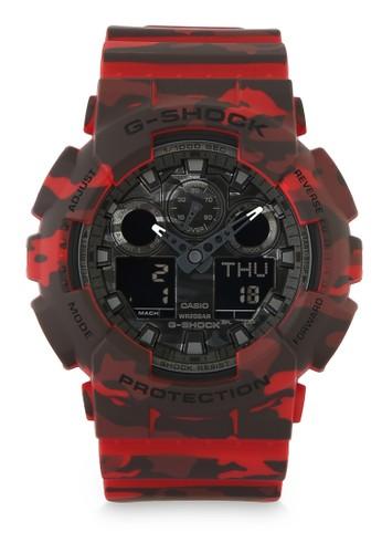 G-Shock red Men Analog Watches GA-100CM-4ADR 45593AC2FA78A8GS_1