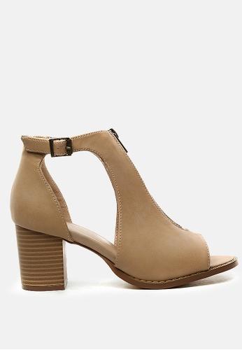 London Rag 米褐色 露趾方跟凉鞋 1B0ACSHE871129GS_1