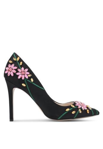 ZALORA black Floral Beaded Satin Heels A06F1ZZ4D2C9C2GS_1