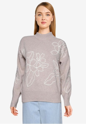 French Connection grey Lami Flora Embroidered Knit Jumper C6C04AA7ECEE2CGS_1