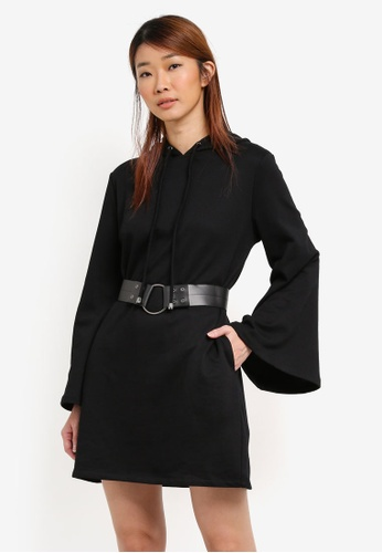 Something Borrowed black Belted Flare Sleeve Hoodie Dress 5C0A0AA37FD005GS_1
