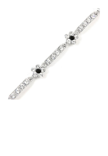 Glamorousky silver Flower Bracelet with Black and Silver Austrian Element Crystals 71C7CACF16C0C4GS_1