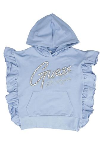 GUESS blue Rhinestones Ruffles Sweatshirt BF991KA0BC3E68GS_1