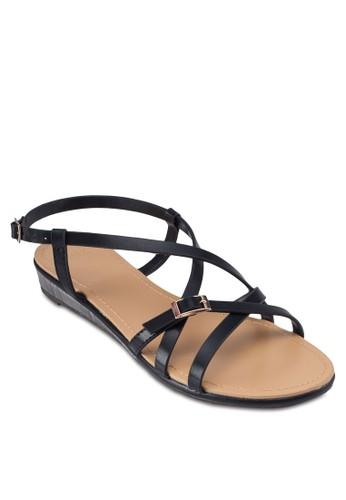 交叉帶繞踝平底涼鞋zalora 折扣碼, 女鞋, 鞋
