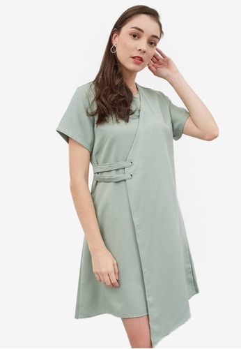 Berrybenka green Hersilia Layer Dress D3D80AAA22DDF6GS_1