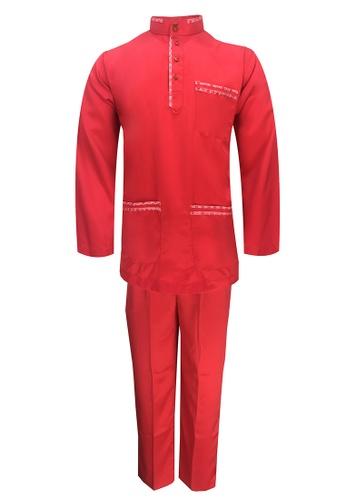Pacolino red Baju Melayu Cekak Musang with pants For Baby - BM37038 (Red) 39668KA37A50D0GS_1