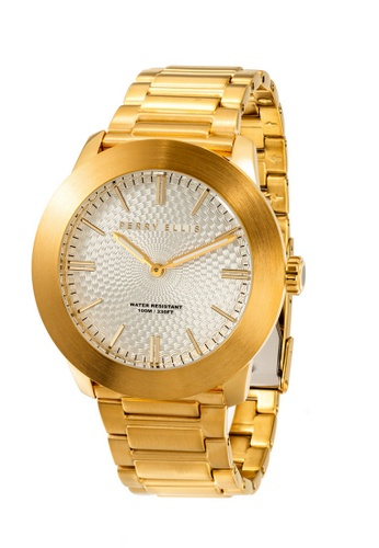 Perry Ellis gold Perry Ellis Slim Line Men Gold IP 46mm Quartz Stainless Steel Watch 03010-02 39B51AC2731DE2GS_1