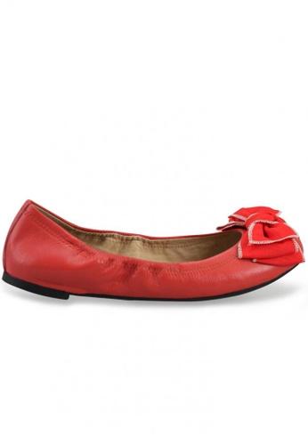 Shu Talk 橘色 布蝴蝶結羊軟皮芭蕾平底鞋 SH544SH099TRTW_1